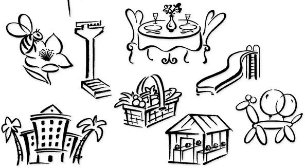 Brush lillustration examples | Hoffmann Angelic Design | Golden Gate Bridge | bee | flower | weight scale | intimate dinner | cafe | slide | fruit basket | greenhouse | hotel | tropical | balloon animal | dog | brush | ivan angelic
