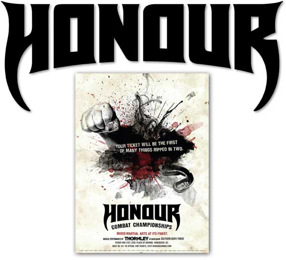 Honour Combat Championships Logo Design, Goth, Type Design, Branding | Hoffmann Angelic Design | fist | blood | fighting | honour | honor | goth | gothic | tattoo | canadian |