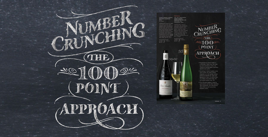 Vintages Cover LCBO | Hoffmann Angelic Design | Magazine | LCBO | wine | chalkboard | chalk | type design  retro | wine cellar | number crunching the 100 point approach | english | french