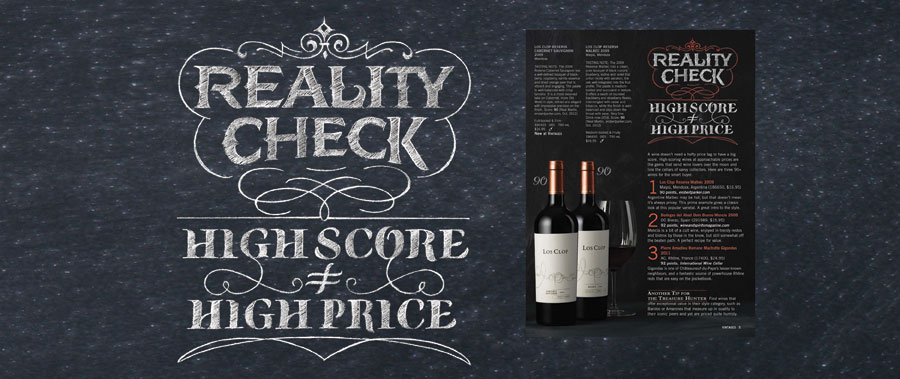 Vintages Cover LCBO | Hoffmann Angelic Design | Magazine | LCBO | wine | chalkboard | chalk | type design  retro | wine cellar | reality check high score high price