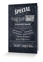 politically Correct Christmas | 26_caracters | 26 Characters | black | white | chalk | chalkboard | hoffmann Angelic Design | zazzle | redbubble | t-shirt | christmas card | dress | ipad | greeting card | funny | ivan angelic | carols | tees | presents | decorations | special | market board