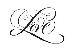 love Simple Flourish lettering for Zazzle and Redbubble