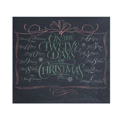 Twelve days of Christmas lettering for Zazzle and Redbubble