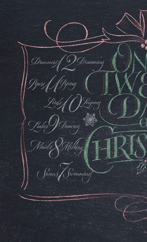 Twelve Days of Christmas lettering for Zazzle and Redbubble | 26_characters | 26 characters | hoffmann Angelic Design | chalkboard | chalk | lettering | On the twellve days of Christmas | 12 | T-shirt | blouse | graphic | pillow | color | black white | dozen